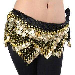 Velvet Belly Dance Hip Scarf Coin /&Bead Belt Wrap Dancing Costume Festival Skirt