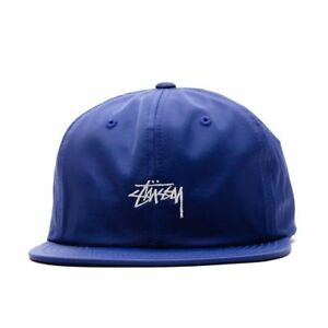46590730d7a Image is loading STUSSY-STOCK-LOGO-POLY-COTTON-SNAPBACK-CAP-BLUE-