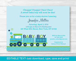 graphic about Printable Baby Boy Shower Invitations identified as Facts pertaining to Inexperienced Choo Choo Practice Little one Boy Printable Boy or girl Shower Invitation Editable PDF