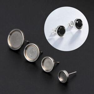 Stainless-Steel-Glass-Cabochon-Earring-Stud-Base-Setting-Metal-Blank-DIY-Earring