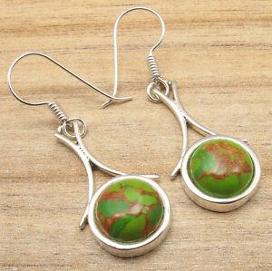 Fancy-GREEN-COPPER-TURQUOISE-Earrings-Silver-Plated-Jewelry-HANDMADE