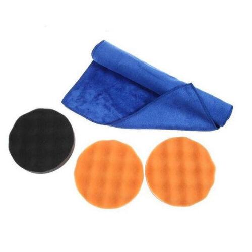 3x 150mm Polierschwamm 1x Poliertuch Klett Autolack Polierpad Poliermaschine Set