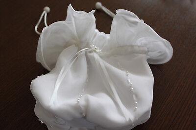 Wie Neu! Kommunion Hochzeit Tasche Beutel Weiß!