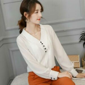 Summer-Ladies-Fashion-Chiffon-Shirt-Long-Sleeve-Loose-Women-Blouse-T-Shirt-Top