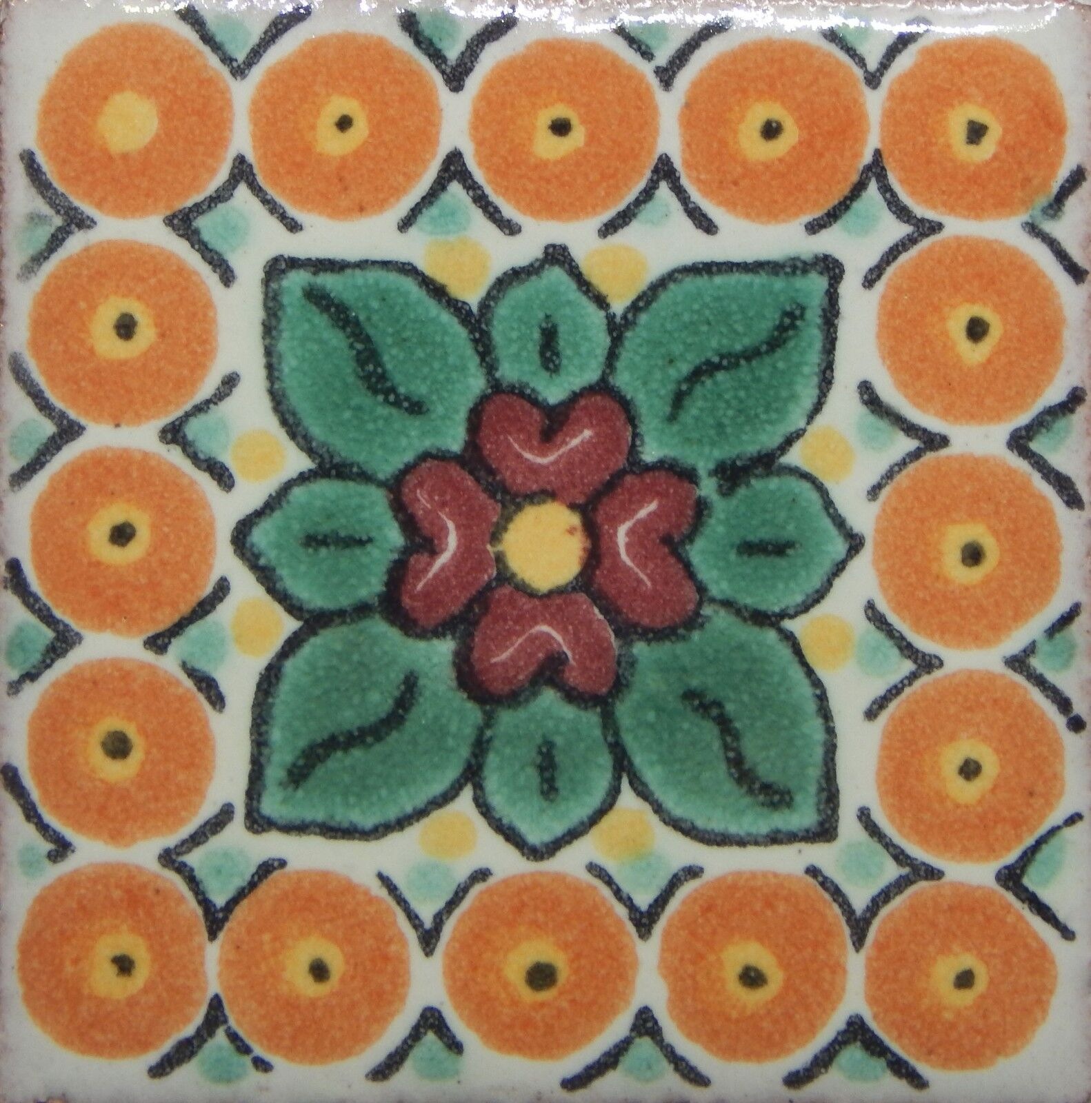 100 TILES Ceramic MEXICAN Talavera Handmade Tile 2x2 Clay Mexico Pottery 2-013