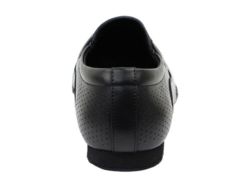 Black Leather Perforated Dance Shoes Salsa Bachata Merengue Mens Very Fine