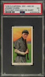 Rare-1909-11-T206-HOF-Johnny-Evers-W-Bat-Sweet-Caporal-350-460-Chicago-PSA-5-EX