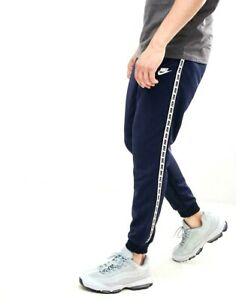 Nike-repeter-Bande-Logo-Homme-Poly-Pantalon-De-Jogging-Bas-Bleu-Taille-M