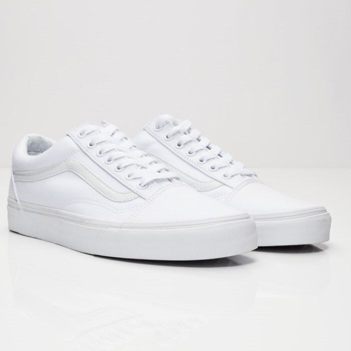 NEU Damens Vans Old Skool  True WEISS Skateboarding Schuhes Classic Canvas SZ  8
