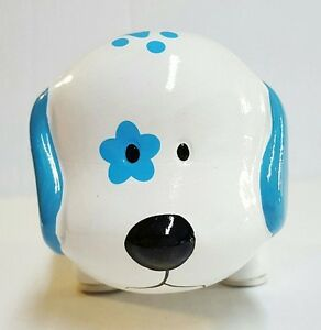 White blue paws mini ceramic dog piggy bank large slot for Mini piggy banks