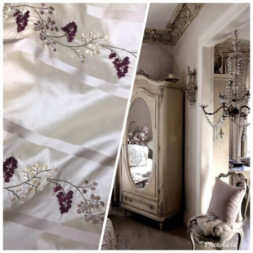 SALE Designer 100/% Silk Taffeta Dupioni Floral Embroidery Fabric Cream Ivory
