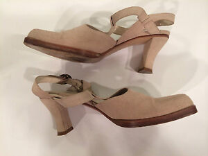 1ae5b5ddb2f Details about Emporio Armani T Strap Cream Suede Heels Shoes Size 37 1/2 US  7
