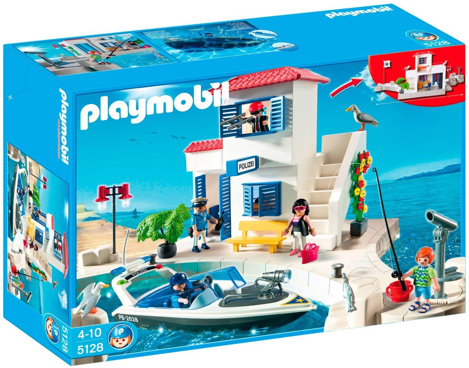 Playmobil Harbor Police Boat New sealed in box Rare hard to find Retired