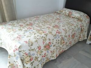Image Is Loading Cream Fl Single Bed Heavy Cotton Bedspread Throw
