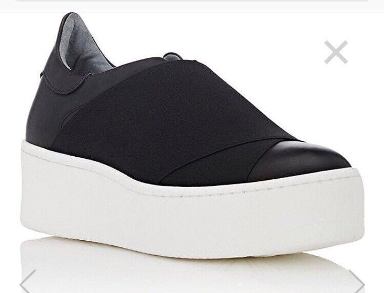 Barneys New York Elastic-Detail Leather Platform Sneakers Size 11 *NEW* W/Box