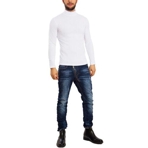 Col haut homme t-shirt manche longue coton sweat-shirt col roulé TOOCOOL basic