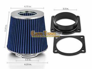 BLUE Filter For 94-95 Mustang 5.0L V8 Mass Air Flow Sensor Intake Adapter
