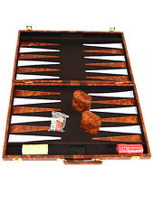 "Classic 11"" Brown & White Backgammon Set US Seller"