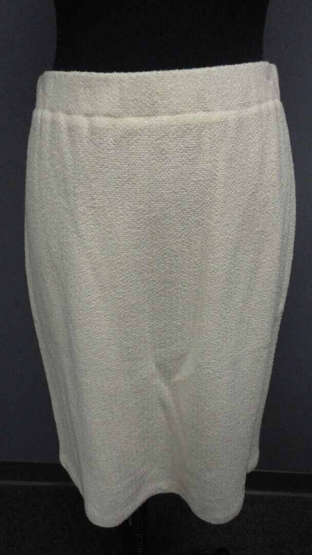 ST. JOHN COUTURE Cream Wool Knee Length Straight Solid Skirt NWT Sz 8 GG5136