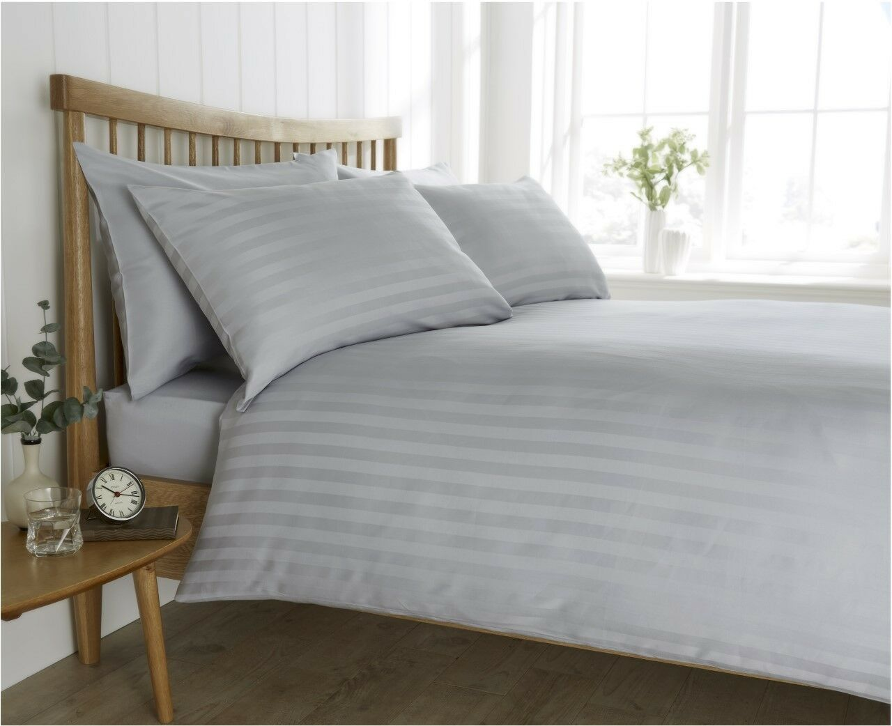 grau Satin Stripe Duvet Cover Set, Fitted Sheet & Pillowcases - Complete Bed Set