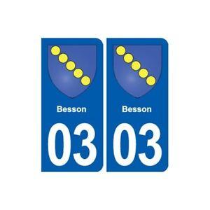 03 Besson Blason Ville Autocollant Plaque Stickers - Angles : Arrondis