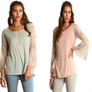 UMGEE-Womens-Chic-Sage-Peach-Stretch-Knit-Lace-Long-Bell-Sleeve-Top-Blouse-S-M-L