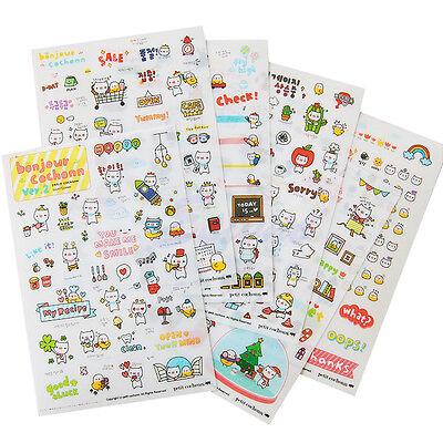6 Sheets Cute Pig Transparent Calendar Diary Sticker Scrapbook Book Decoration