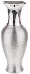 36cm Hoch Keramik Glänzend Silber Blumenvase Hoch Hals Breit Mund Wellen Design