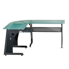 Techni Mobili Deluxe L Shaped Computer Desk Graphite Glass Panel