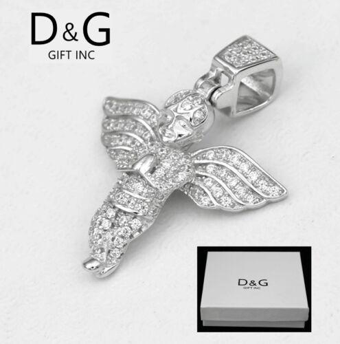 DG 925 Sterling Silver 32mm ANGEL Prayer Charm Mini CZ 3D,Unisex Box