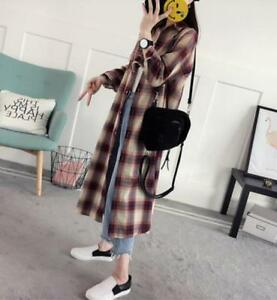 Womens-Long-Tops-Shirt-Checks-Grid-Korean-Loose-Mixed-Color-Blouse-Coat-2-Color