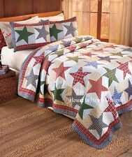 NICHOLAS STAR PATCH * Full / Queen * QUILT SET : NAVY PLAID AMERICAN CABIN LODGE