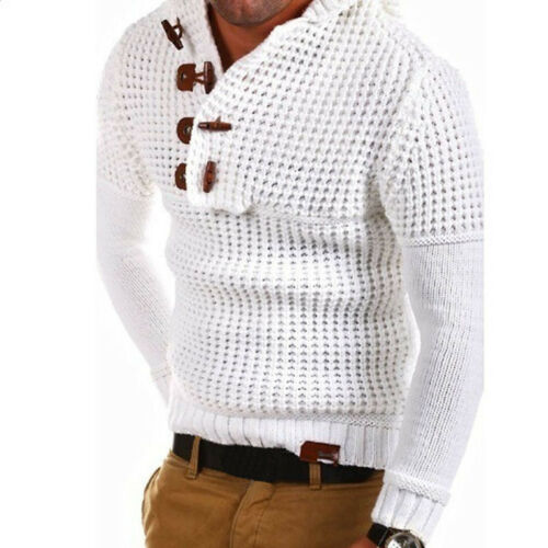 US Mens Casual Sweaters Warm Long Sleeve Knitwear Sweat Pullover Sweater Button