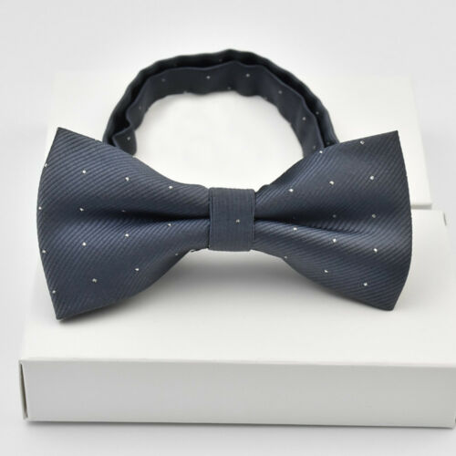 Men's Bow Tie Silver Polka Dots Pattern Pre-tied Bowties Business Wedding Party