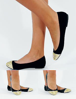 Nuevo para mujer señoras Tachonado Bailarina Dolly Plana Zapatos De Salón Talla 3-8