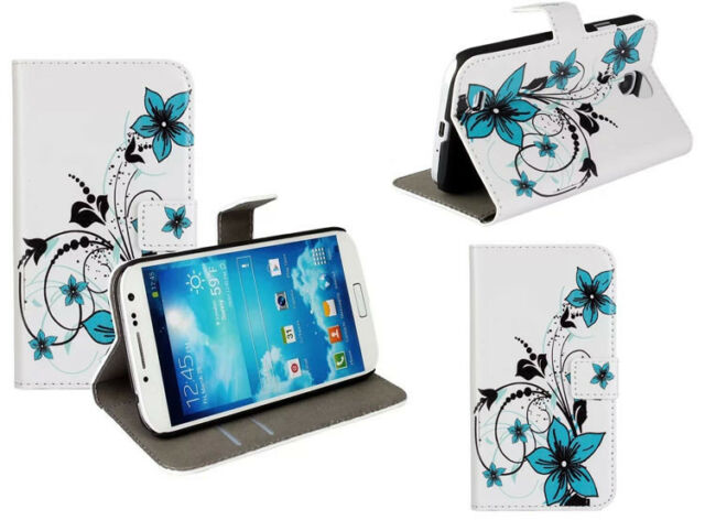 Blooming Blue Flowers Leather Wallet Flip Stand Case Cover For Various Phones
