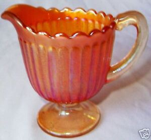 IMPERIAL-GLASS-STIPPLED-RAYS-MARIGOLD-STEMMED-FOOTED-CREAMER