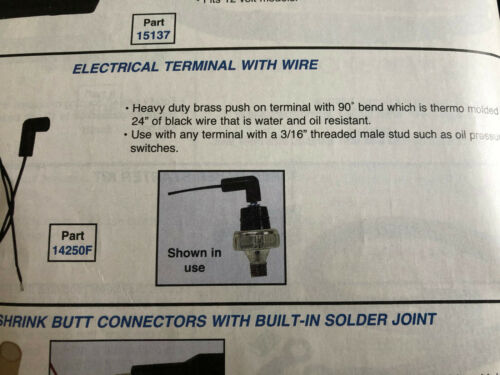 ELECTRIC TERMINAL WITH WIRE PUSH-ON 90 DEGREE END 24/'/' WIRE