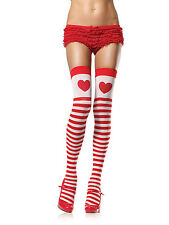 HEART WHITE RED STRIPE THI HIGH STOCKINGS COSPLAY ALICE IN WONDERLAND LEG AVENUE