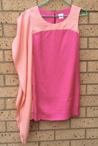 SASS-AND-BIDE-Dress-Size-6-Shift-Asymmetrical-Sleeves-Pink-Coral-Party-Cocktail
