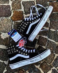 Vans-Classiche-Sk8-Hi-Alte-Stivaletto-Borchie-Vintage-Scarpe-Borchiate-Argento