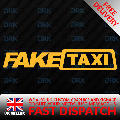 FAKE TAXI Small Novelty Car//Van//Truck//Bumper//Window//Laptop Vinyl Sticker//Decal