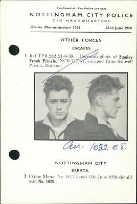 Nottingham Police 1958  Stanley Frank Pringle  Escaped Ashwell Prison,  QR329 | eBay