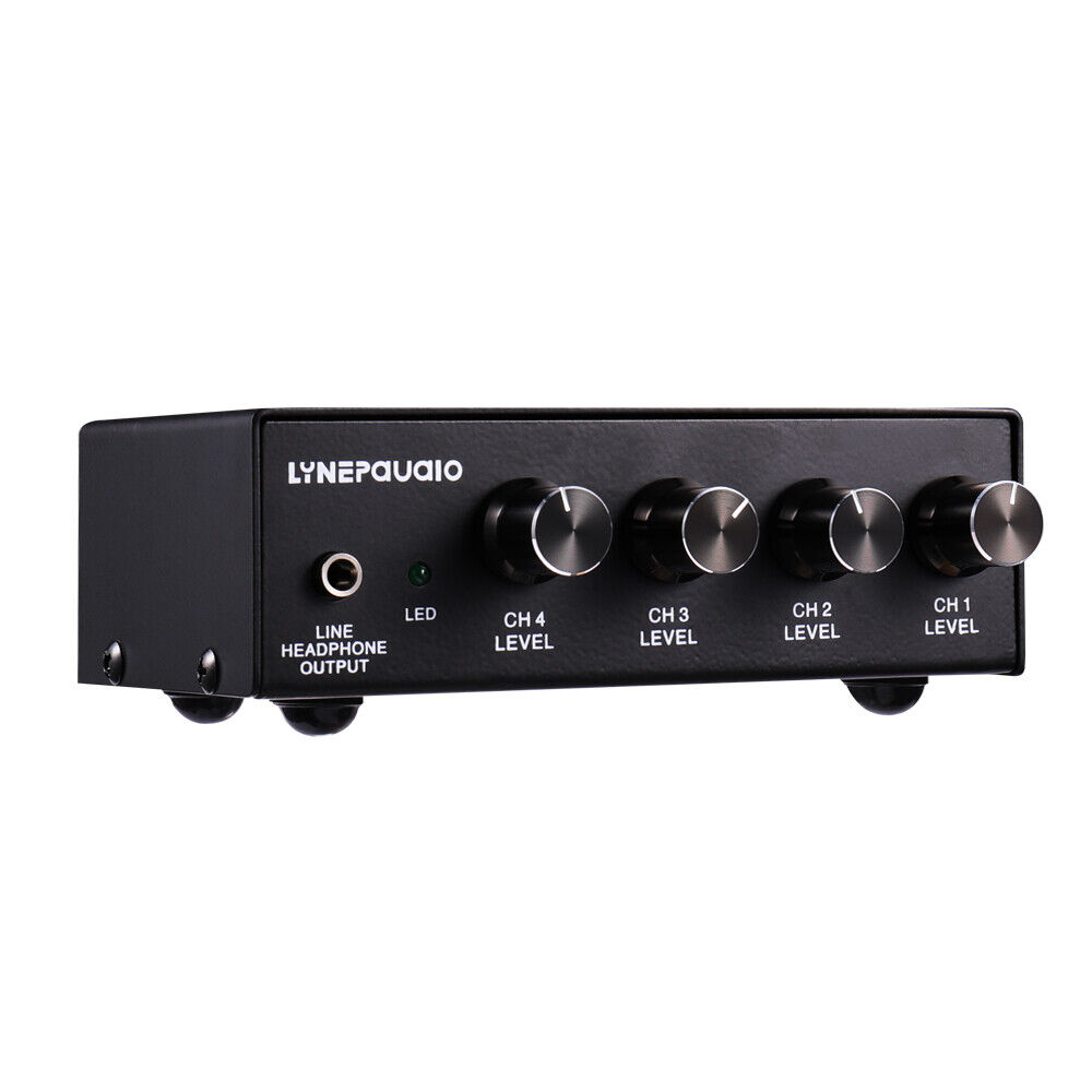 Mini 4-channel Lossless Stereo Audio Mixer with Microphone Monitoring