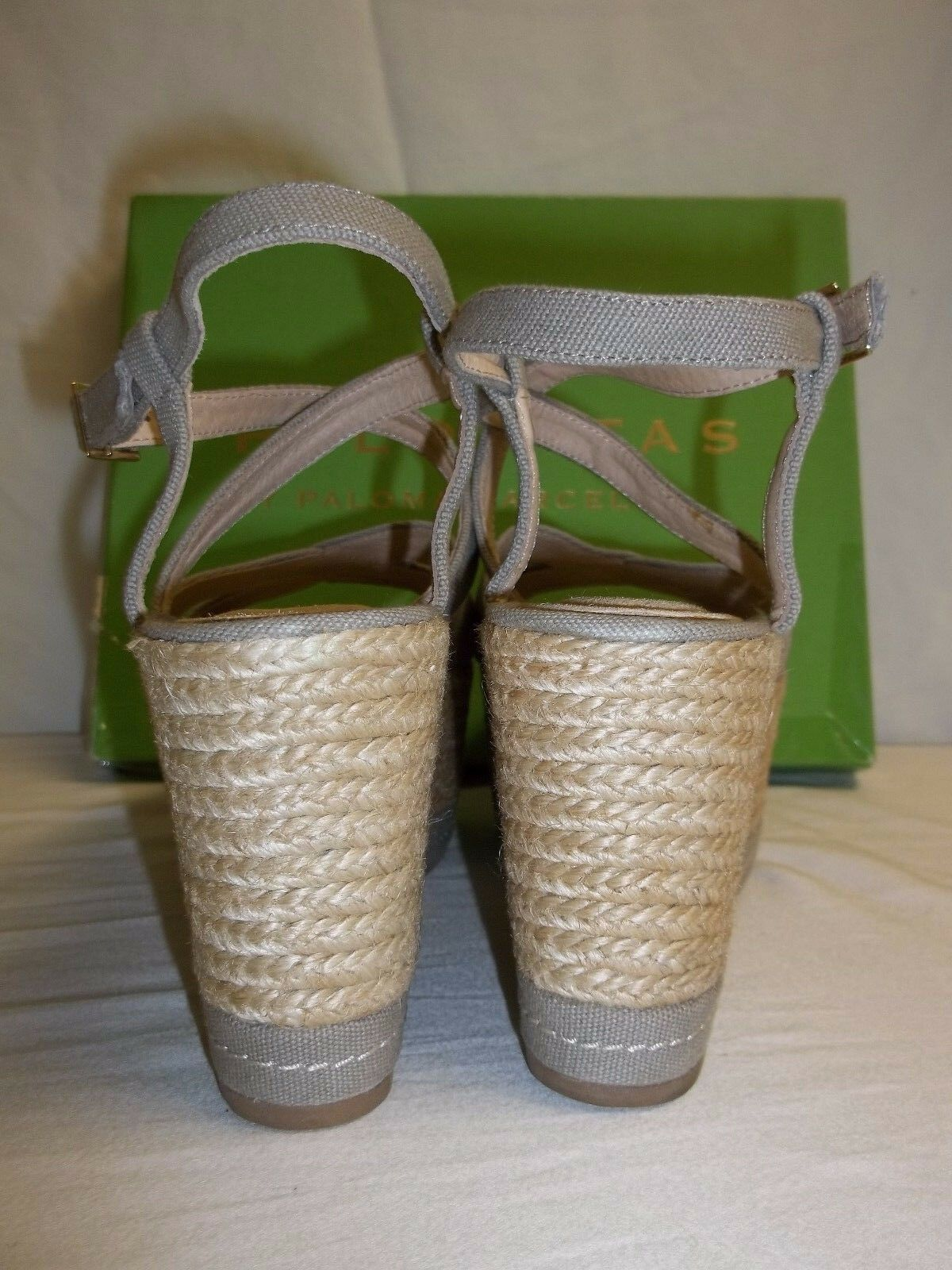 Palomitas by Paloma Barcelo UE 39 US 8.5 taupe taupe taupe toile talons compenses NEW Chaussures Pointure 8fb31f