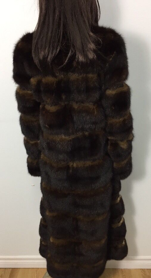 HORIZONTAL GENUINE DARK BROWN RUSSIAN SABLE SABLE SABLE Fur COAT Sz. XS-S 739707
