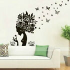Butterfly Flower Fairy Girl Removable Wall Sticker DIY Home Room Decor PVC Decal