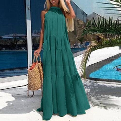 Women Summer Sleeveless Casual Long Shirt Dress Evening Club Party Midi Sundress