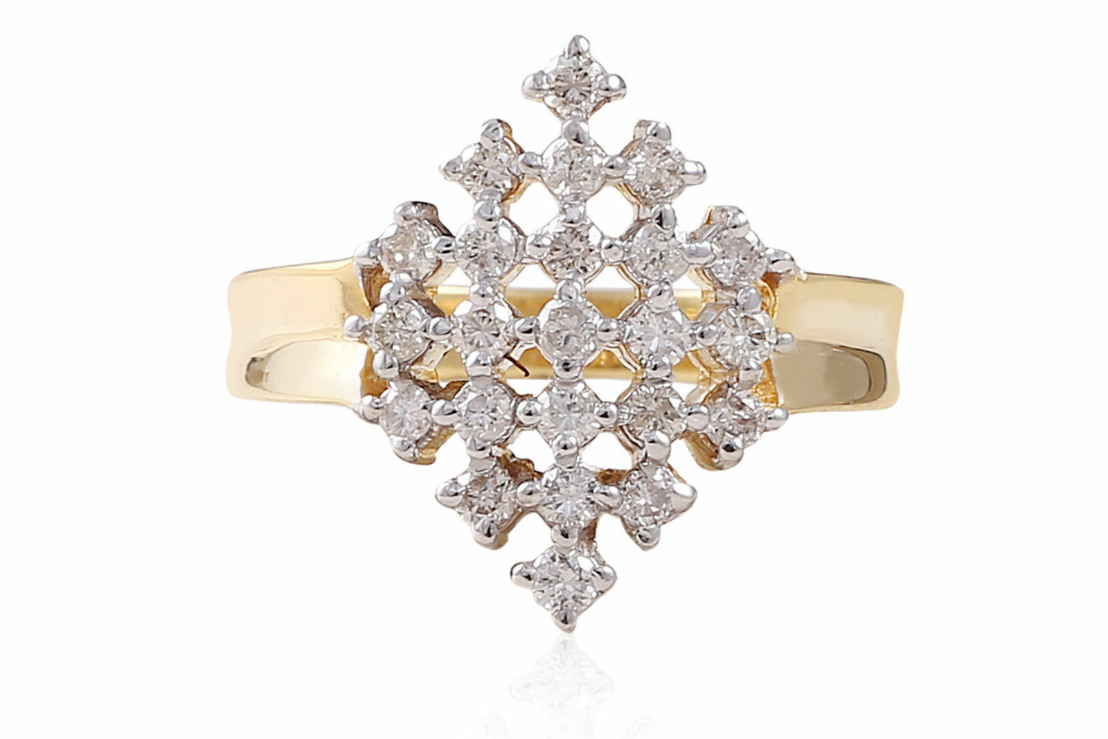 Pave 0.69 Cts Round Brilliant Cut Natural Diamonds Anniversary Ring In 18K gold