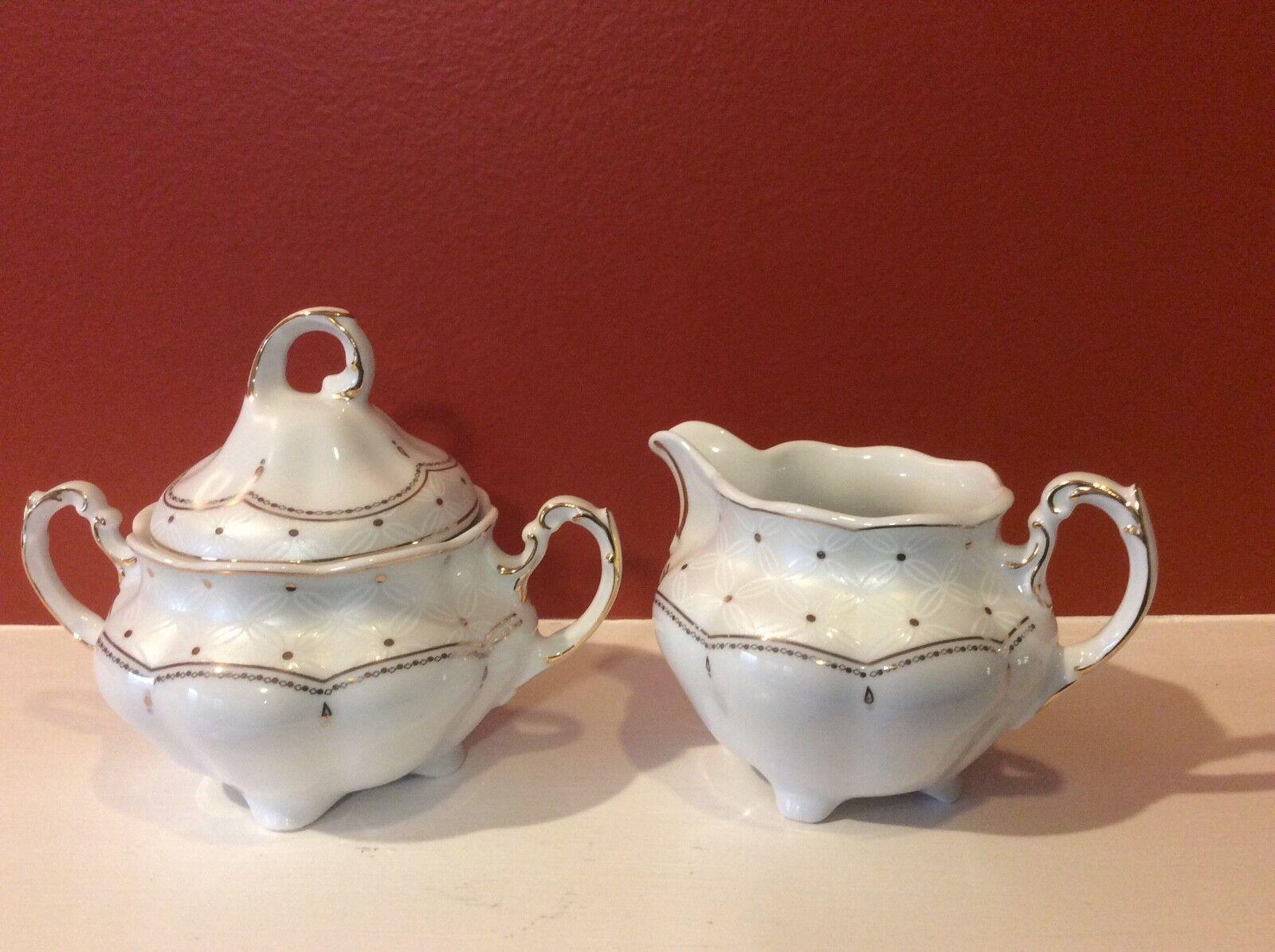 Vtg CMIELOW Porcelain Sugar Bowl Lid Creamer Kaffee Ginger Jar Christmas 3pc Set